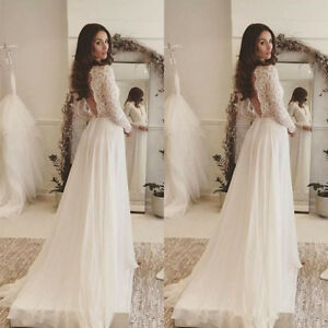 Image Is Loading Deep V Neck Bohemian Wedding Dress Long Sleeve