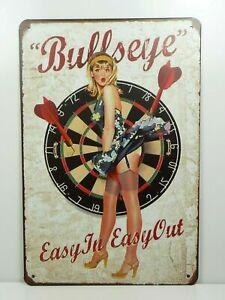 PA31F-PLAQUES-TOLEE-vintage-20-X-30-cm-Pin-039-up-Bullseye