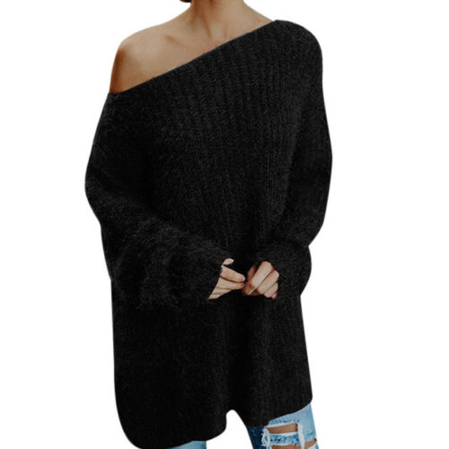 Frauen-flauschige ab Schulter Pullover Pullover Pullover Damen Baggy Long Sleeve