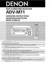 Denon Adv-m71 Receiver Amplifier Owners Manual
