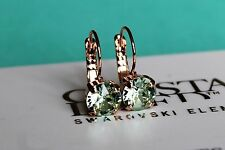 Rose Gold Plated Chrysolite Leverback Earrings with Swarovski Crystal Element
