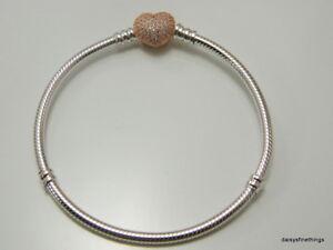 Image Is Loading New Authentic Pandora Bracelet Rose Pave Heart Clasp