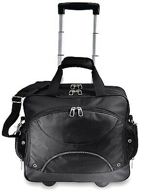 "GP 17"" Techno Black Rolling Laptop Computer Bag Wheeled Briefcase w/Organizer"
