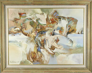 Untitled-Abstract-in-Blue-Green-Brown-by-Edward-Grossman-Framed-Oil-Painting
