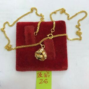 Gold-Authentic-18k-saudi-gold-necklace-with-pendant-16-inches-chain-gg