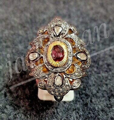 Victorian Ring 925 Starling Silver Ruby Gemstone Rose Cut And Pave Diamond Ring