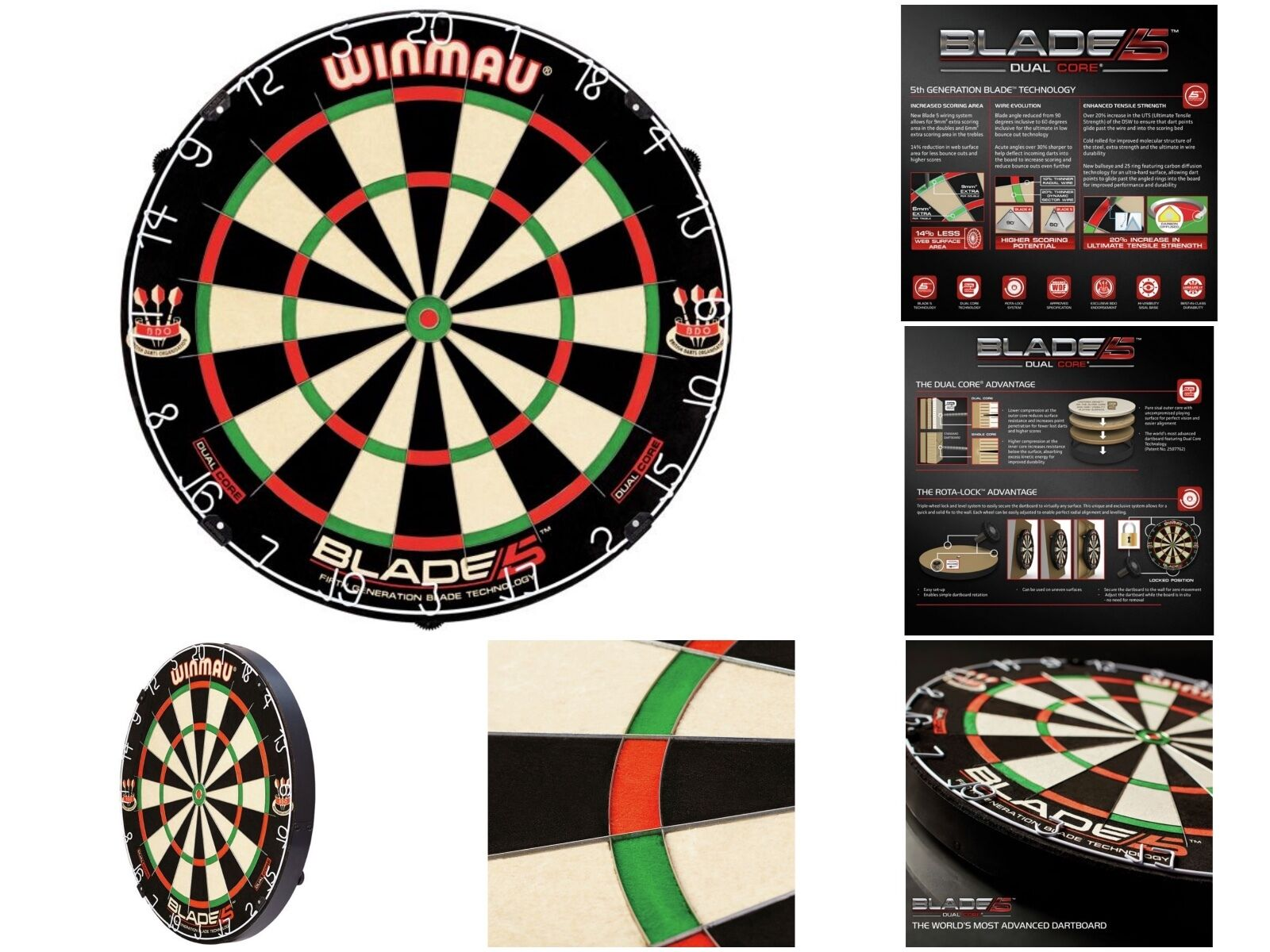 Professionelles Winmau Dart Board Blade 5 Dual Core Bristle Dartboard So gesehen im Fernsehen
