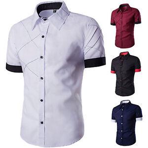 Men-Short-Sleeve-Casual-Formal-Dress-Shirts-Business-Button-Down-T-shirt-Tops-M