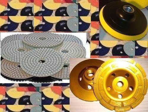 "4/"" 100mm Diamond Polishing Pad 12 Piece And Grinding cup wheel granite concrete"