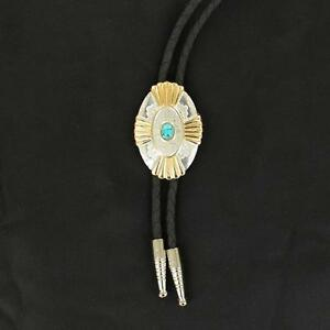 M&F Western Mens Bolo Neck Tie Gold Silver Stone Turquoise 22113