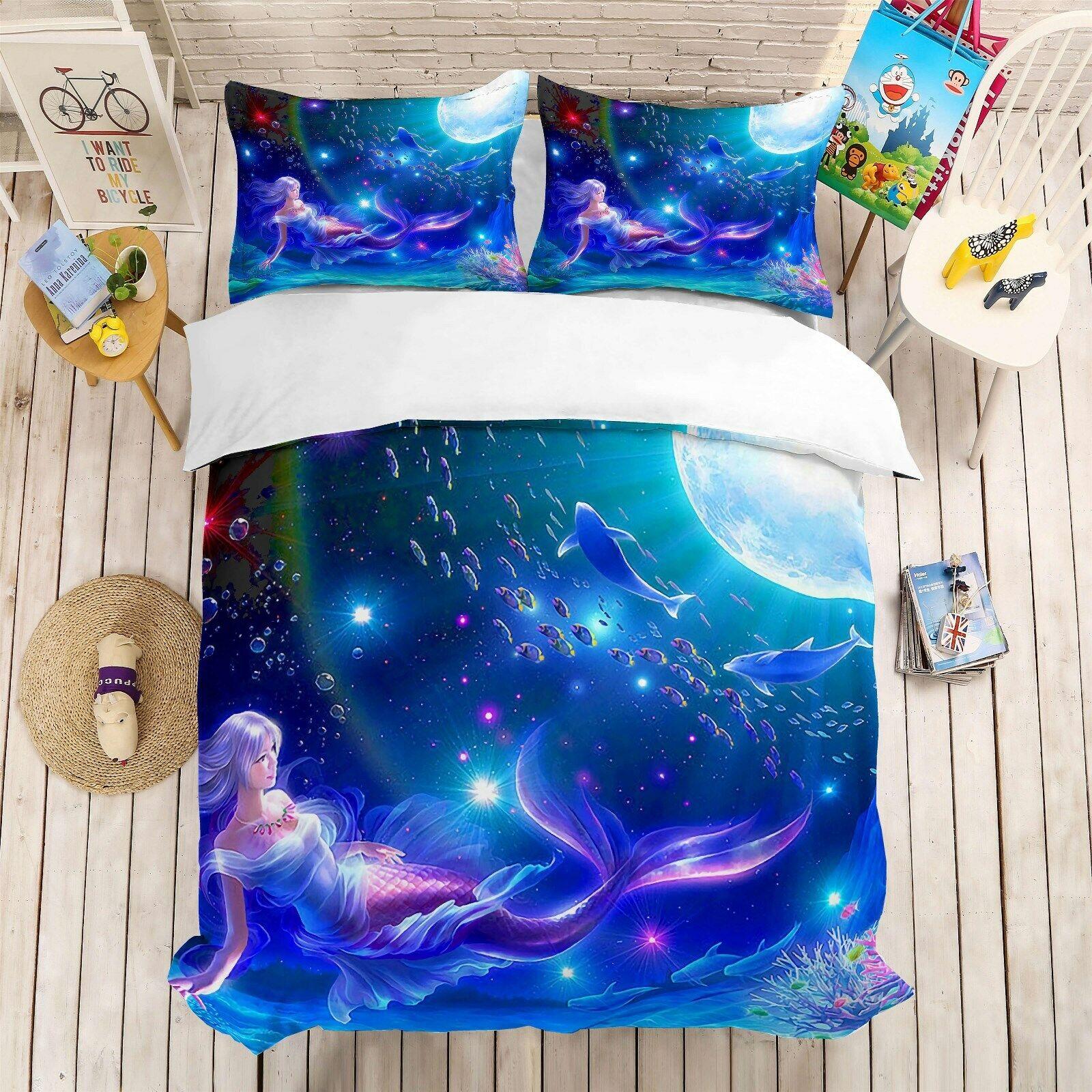 3D Dream Mermaid Girls Bedding Set Duvet Cover Comforter Cover Pillow Case