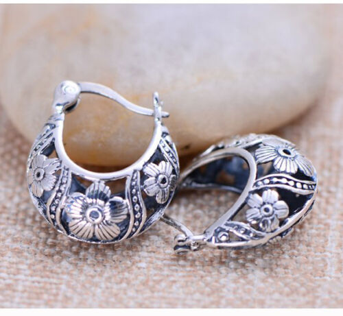New Classic S925 Silver Earrings Woman Perfect Hollow Flower Unique Hoop 17*21mm