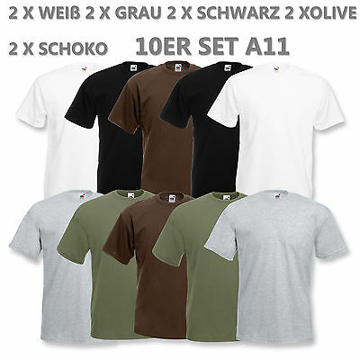 10 FRUIT OF THE LOOM T SHIRT SETS BAUMWOLLE M L XL XXL HERREN T-SHIRTS NEU