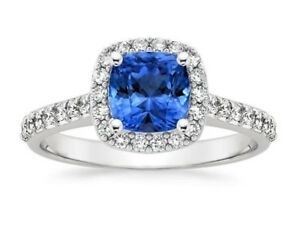 2-00-Ct-Cushion-Cut-Diamond-Natural-Blue-Sapphire-Ring-Sterling-Silver-Size-L-K