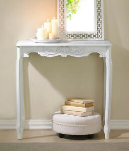 white sofa cover with wooden table | modern WHITE shabby distressed ornate Wood long console ...