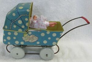 VINTAGE ORIGINAL WYANDOTTE BLUE TIN LITHOGRAPH TOY BABY DOLL BUGGY STROLLER