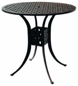 "Bar height patio table Nassau 48"" round cast aluminum outdoor furniture."