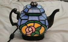 Stained Glass Tiffany Style Tea Kettle Night Light Table Lamp