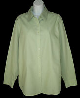 Coldwater Creek Tab Detail No Iron Shirt Top L Large Light Green Cotton