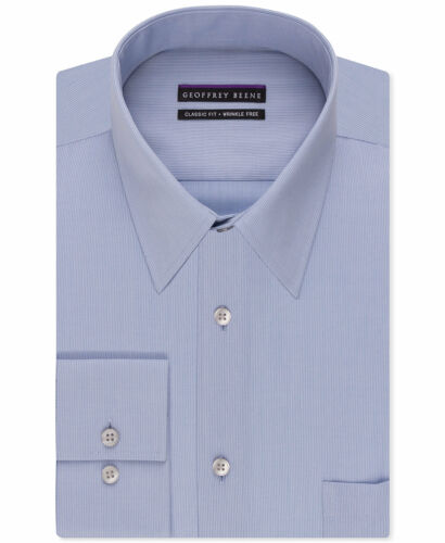 NWT $95 GEOFFREY BEENE Men CLASSIC-FIT BLUE WRINKLE-FREE DRESS SHIRT 17 32//33 XL