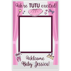 Tutu Ballerina Baby Shower Selfie Frame Social Media Photo Booth