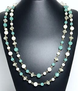 Long-Beaded-Necklace-On-Gold-Wire-Turquoise-Clear-Beads-And-Pearls