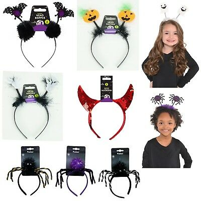 Kids Girls Halloween Headband  Cat,Spider,Devil,Ghost,Bat Frightful Head Boppers