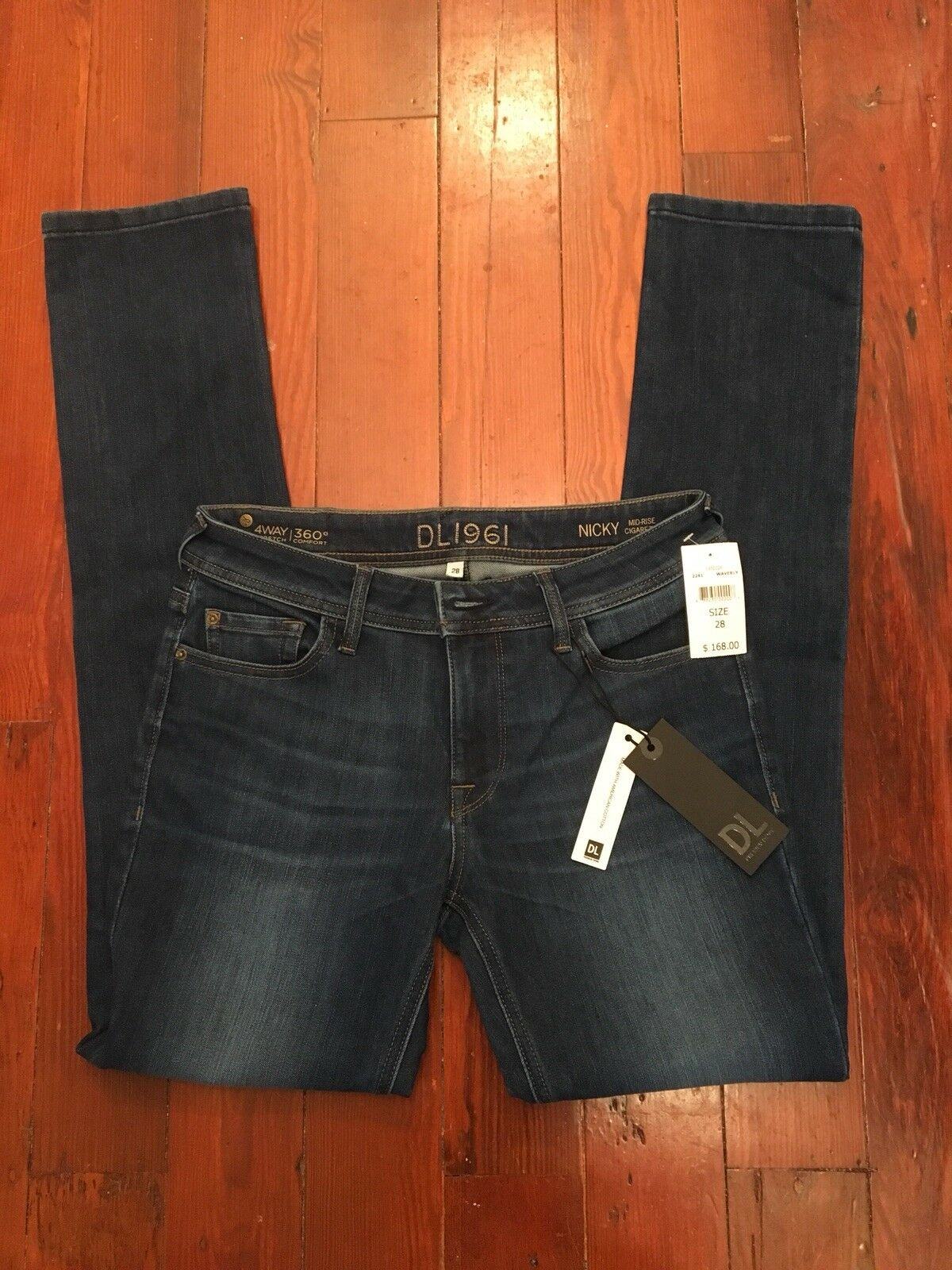 DL 1961 Womens Jeans Nicky Mid-Rise Cigarette Waverly 2241 Size 28  168 NWT