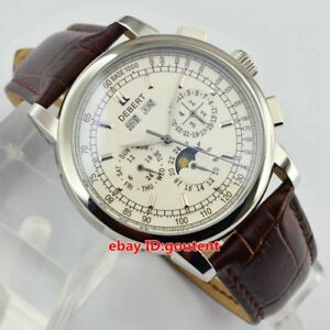 Orologi-da-polso-da-uomo-Debert-42mm-con-quadrante-bianco-Moonphase-Automatic