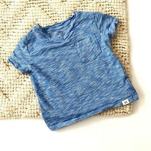 Baby-Gap-Toddler-Boys-Blue-T-shirt-Stripe-Heathered-Size-12-18-Months