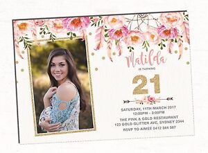 Image Is Loading 21st Birthday Invitation Boho Pink Gold Floral Flower