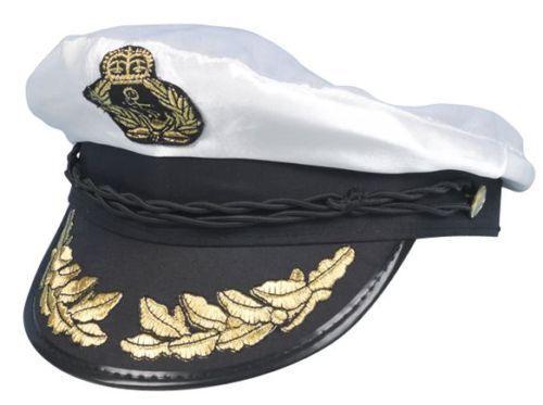 Sailor White Captain Hat Navy Cap Adult Party Fancy Dress