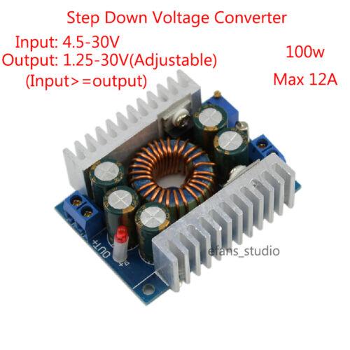 100W 12A DC-DC Buck Voltage Converter 4.5-30V to 0.8-30V Step-down Power Module