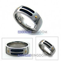 Accents Kingdom 8mm Men's Titanium Magnetic Gold Rivet Cable Ring Band Size 8-12