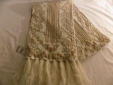 Lauren Ralph Lauren Women's Reversible Knit Scarf (Cream & Gold Metallic) NWT