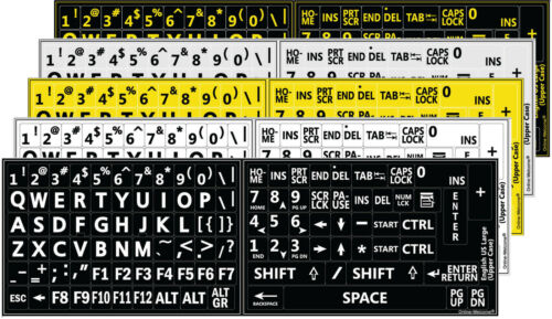 ENGLISH US KEYBOARD STICKER LARGE YELLOW  LETTERS BLACK  BACKGROUND LABELS