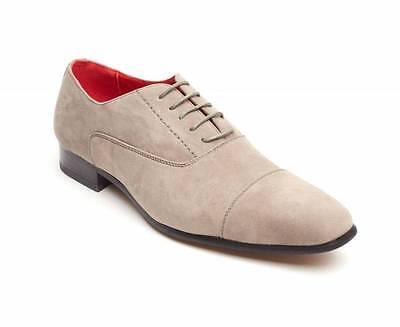 Rossellini Mario Hombre Zapatos Gris Gamuza Con Cordones en Punta Informal Zapato