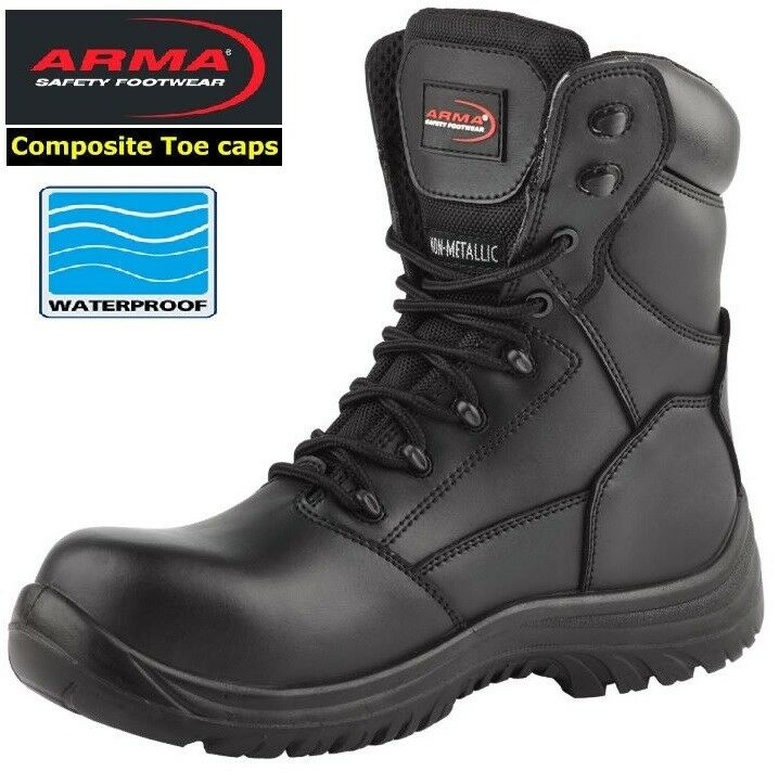 ARMA S3 Waterproof Composite Toe Cap Metal Free Leather Combat Safety Mens Boots