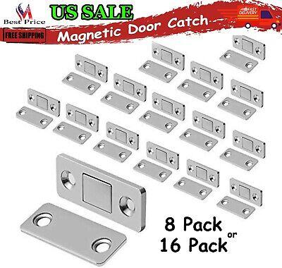 Self-Adhesive Door Magnets 4 Pcs Ultra Thin Magnetic Door Catch Drawer Magnet Stainless Steel Magnetic Cabinet Latches Hardware for Sliding Door Window Kitchen Cupboard Closure Closet Door Closer