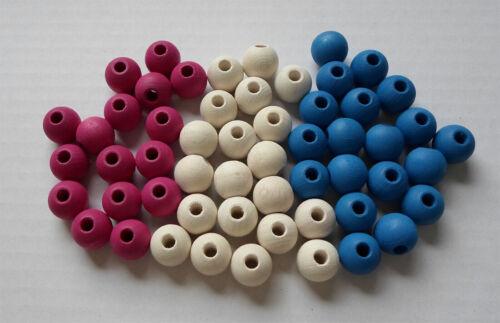 con orificio 10 pieza de madera balas 15 mm Ø azul lacado haya