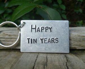 Happy Tin Years 10th Wedding Anniversary Gifts Ten Years Keyring