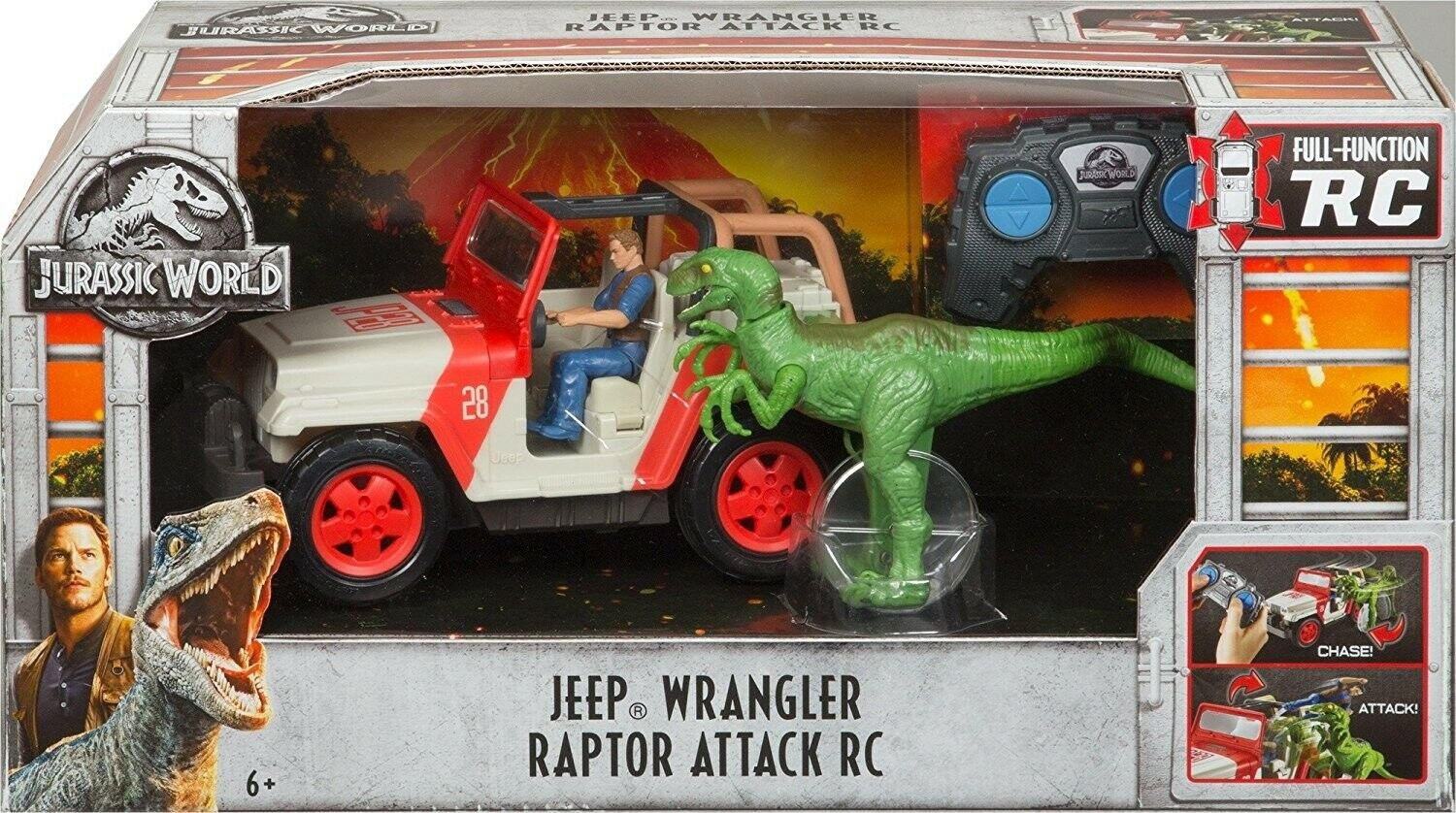 Matchbox Jurassic World Jeep Wrangler Raptor ataque RC