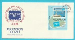 Ascension-aus-1986-FDC-Block-16-AMERIPEX-Hubschrauber-Freiheitsstatue