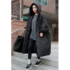 Women's Casual Oversize Loose Hooded Parka Long Coat Cotton Padded Overcoat