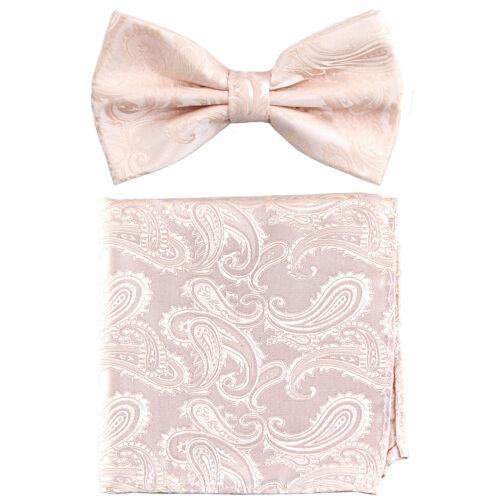 New Brand Q men/'s pre-tied bow tie /& hankie set paisley micro fiber formal peach