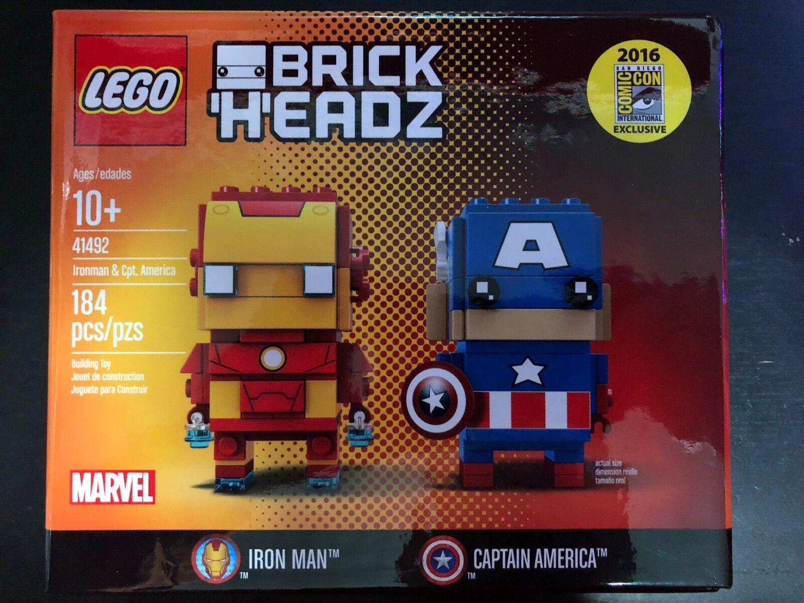 LEGO SDCC 2016 Brick Headz Captain America & Iron Iron Iron Man Exclusive New 41492  colores increíbles