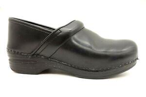 Dansko-Black-Leather-Casual-Slip-On-Clogs-Shoes-Women-039-s-38-7-5-8