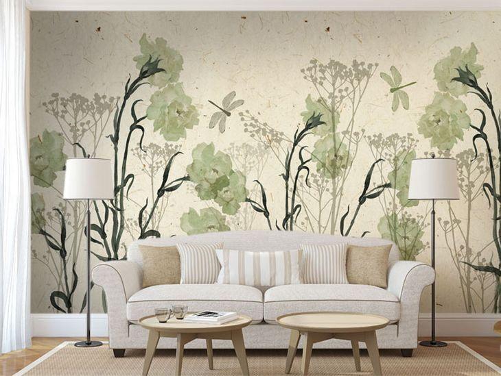 3D Grün Camellia4 Wall Paper Wall Print Wall Decal Wall Deco Indoor Wall Murals