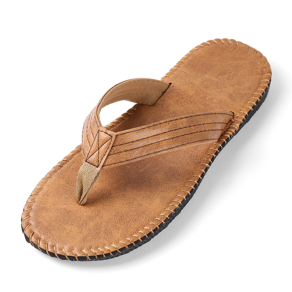 Tan Anti-slip PU Leather Leather PU Men's Thong Flip-Flops Summer Groove Sandals Size 9-10 5ee850