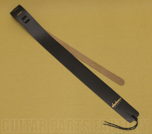299-0663-006 Jackson Gold Logo Leather Black Guitar /& Bass Strap